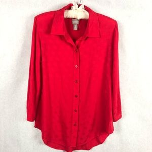 Chico's Red Button Down Long Sleeve Size 0